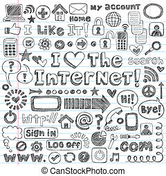 internet, web, gekritzel, ikone, vektor, satz