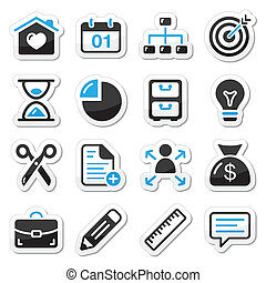 Internet, web icons as labels - Navigation black and blue...
