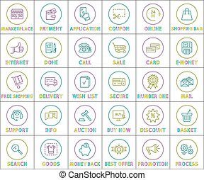 Internet Web Linear Outline Bright Round Icons Set
