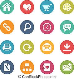 internet web, local, ícones