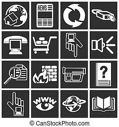 internet web, série, jogo, ícone