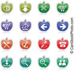 internet web, site web, &, icônes