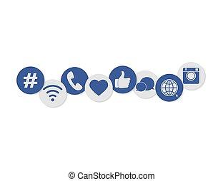 Internet web social media icons set