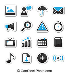 Internet website icons set styled a - Blue and black shiny...