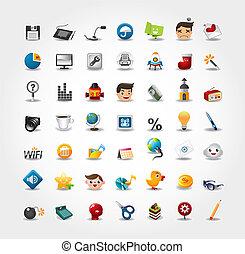 internet, &, website, ikony, ikony, ikony, komplet