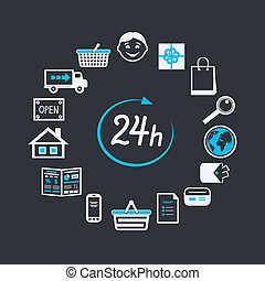Internet website store open 24 hours for online shopping and...