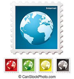 internet, welt, briefmarke