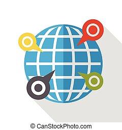 internet, wereld, plaats, plat, pictogram