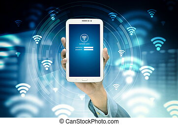 The conceptual image of smart phone search for internet network based on wifi signal