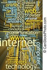 Internet word cloud glowing