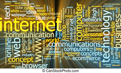 Internet word cloud glowing - Word cloud concept...
