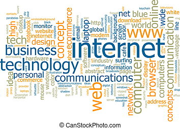 Internet word cloud - Word cloud concept illustration of...
