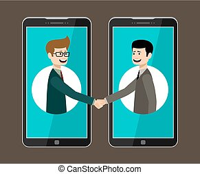 Internet working concept. Online business. Partnership