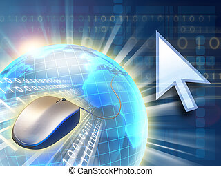 Internet concept showing a mouse and a binary data stream. Digital illustration.