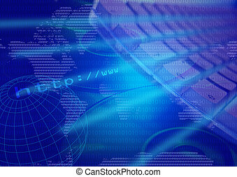montaged keyboard, cd, data and world illustrations depicting world wide web, internet access, communication