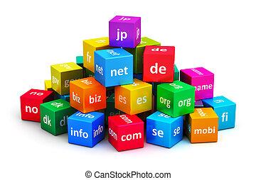 internet, y, dominio, nombres, concepto