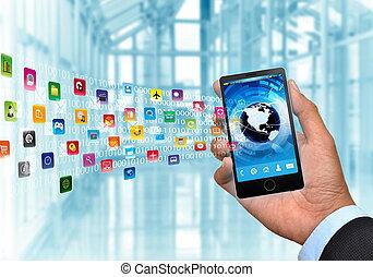 internet, y, multimedia, elegante, teléfono