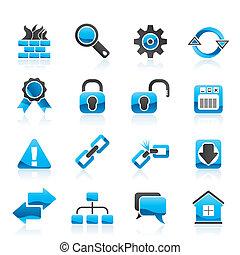 internet, y, sitio web, iconos