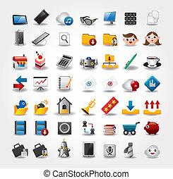 internet, y, sitio web, iconos, iconos, iconos, conjunto