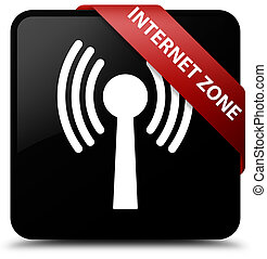 Internet zone (wlan network) black square button red ribbon in corner