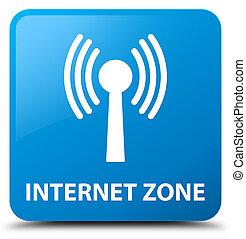 Internet zone (wlan network) cyan blue square button