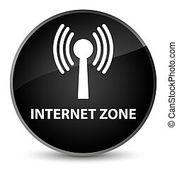 Internet zone (wlan network) elegant black round button