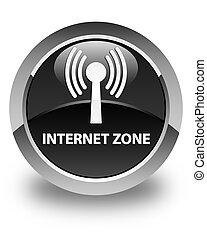 Internet zone (wlan network) glossy black round button