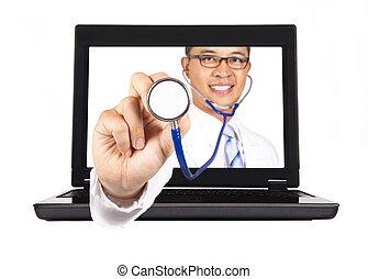 internet.doctor's, serviço, médico, mão, estetoscópio,...