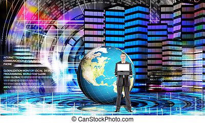 internet.globalization, conexão, tecnologia, e, digital, communi