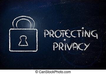 internetowe bezpieczeństwo, i, lock:, ryzyka, dla, poufna informacja