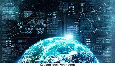 internetowe połączenie, w, zewnętrzna przestrzeń
