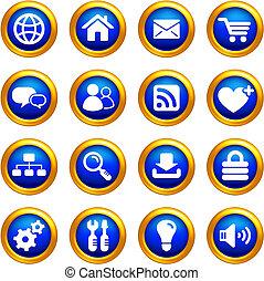 internetten ikoon, set, op, knopen, met, gouden, randjes