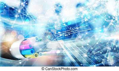 internetverbindung, mit, optisch, fiber., begriff, von, schnell, internet