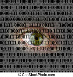 Internety spying concept - Closeup of human eye with digital...