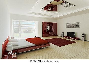 interno, 3d, camera letto
