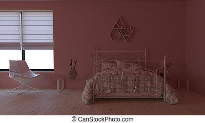interno, 3d, contemporaneo, camera letto