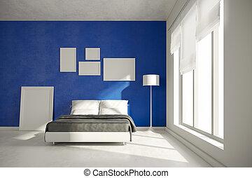 interno, 3d, render, camera letto