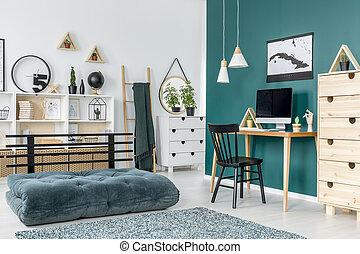 interno, adolescente, verde, stanza
