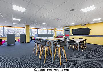 interno, alto, biblioteca, tavoli