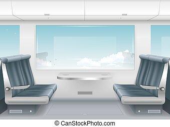 interno, alto, treno, velocità