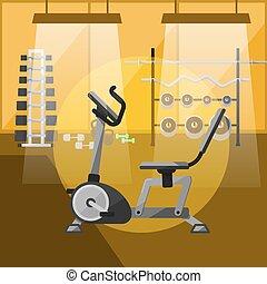 interno, apparecchiatura, bicicletta palestra, esercizio