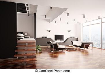 interno, appartamento, moderno, 3d