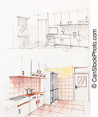 interno, appartamento, prospettiva, cucina, sketched