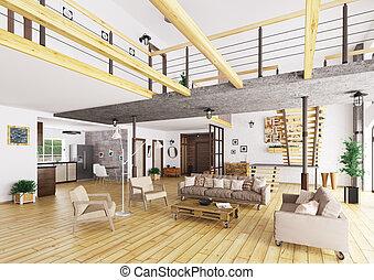 interno, appartamento, soffitta, render, 3d