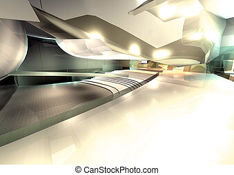 interno, architettura moderna, render, 3d