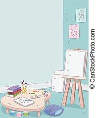 interno, arte, stanza