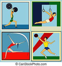 interno, atletica, etichette, retro