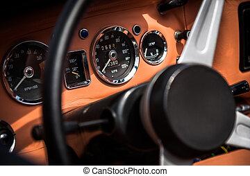 interno, automobile, retro, vendemmia