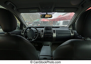 interno, automobile, vista