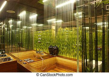 interno, bagno, erba